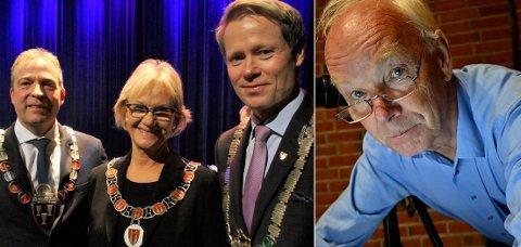 Morna: Per Olaf Lundteigen (Sp) er klar på at det nå er takk og farvel til Viken. Hva som da skjer med Lunner og Jevnaker er uvisst. Til venstre Ap-ordførerne på Hadeland: Morten Lafton (Jevnaker), Randi Eek Thorsen (Gran) og Harald Tyrdal (Lunner).