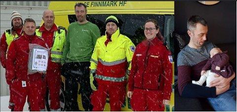 SPONSET SELE: Roland Seljenes fikk for fem måneder siden lille Ellie, noe som har forandret hverdagen totalt. Nå har han sponset ambulansen i Havøysund med to spesialtilpassede seler til små barn for å trygge de aller minste.