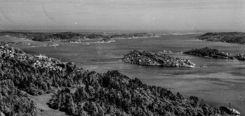 Kragerøfjorden og Furuholmen: Dette fotografiet ble tatt sommeren 1955. Stedet er Storkollen. Midt imot ligger Furuholmen og bakenfor, Rauane og innseilingen til Kragerø. Bildet viser også den store forandringen i Rørvik som har skjedd de siste 60 årene.