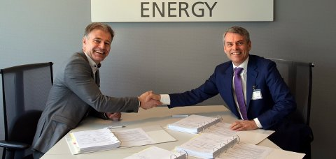 Odin Estesen, administrerende direktør i  Neptune EnergyNorge, og Rune Thoresen, administrerende direktør i FMC Kongsberg Subsea.