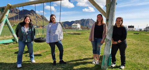 Tonje Unstad, Solveig Elton Jacobsen, Josephine Unstad og Kine Unstad vil ha en park for alle i Sennesvik.
