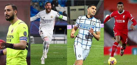 NYSIGNERINGENE: Gianluigi Donnarumma, Sergio Ramos, Achraf Hakimi og Georgino Wijnaldum skal alle ikle seg PSG-trøyen den kommende sesongen.