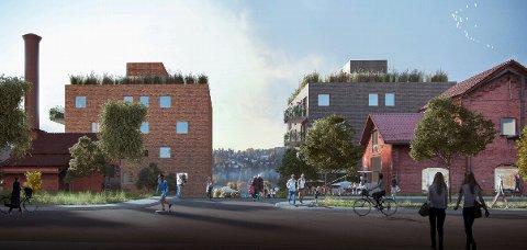 AVVIST: JM Norge ville bygge boligblokker rundt de eldste og vernede delene av den nedlagte eterfabrikken på Bogerud, men har nå gitt opp prosjektet. Nå er saken også avvist av bystyret. Skisse: JM Norge