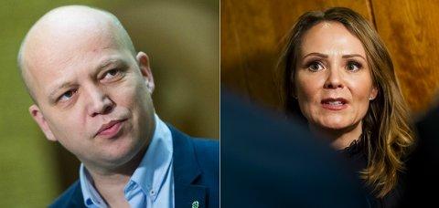 Leder i Senterpartiet Trygve Slagsvold Vedum og distrikts- og digitaliseringsminister Linda Hofstad Helleland (H).