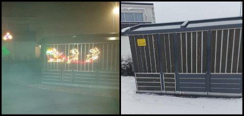 FØR OG ETTER: Julepynt skal ha blitt fjernet flere steder i nabolaget. (Foto: Privat)