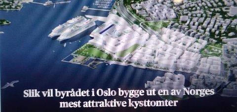 SJØFRONTEN: I Oslo som i Sandefjord er befolkningen lei av nedbyggingen av strandsonen, skriver Jørn Myhre. (Faksimile fra Aftenposten)