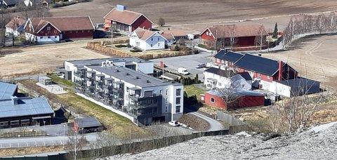 NYTT BOLIGPROSJEKT: Mohagen borettslag planlegges nord for Mo Terrasse (t.v.). Her er området sett fra Mokollen.