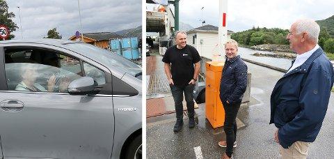 Både fører og passasjer i denne bilen applauderte mot ordførerne i Sandnes og Bjarte Sveinsvoll Dagestad i Boreal Sjø AS.