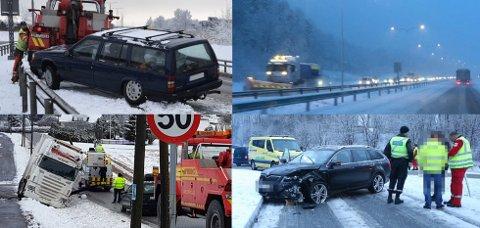 SNØTRØBBEL: Snøfallet skapte trøbbel på veiene. Her er noen eksempler.