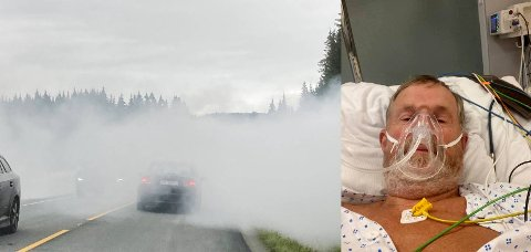 PÅ OVERVÅKNINGA: Bildet til venstre tok Anton Rikstad av den forankjørende bilen. Da han selv kom fra til røyken var den så tett at han valgte å stoppe bilen da han hadde null sikt. Rikstad pustet inn gass og måtte tilbringe natta med oksygen på Sykehuset Levanger.