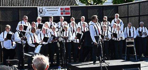 Tvedestrand mannskor på bryggekonsert i Tvedestrand i fjor sommer.