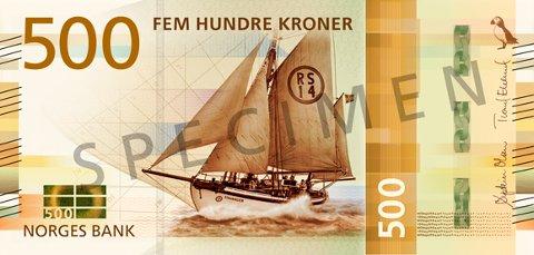 Hovedmotivet på 500-kroneseddelen er redningsskøyta RS 14 «Stavanger», designet av Norges mest kjente båtbygger og konstruktør Colin Archer.