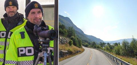 HØG FART: I 80-sona ved Tonheim i Eikefjord kontrollerte UP-patruljane i Sunnfjord (bildet) og Nordfjord laurdag kveld trafikken i begge retningar. Der avdekte dei svært høg fart.