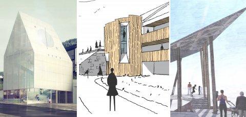 TRE FORSLAG: Her er forslagene fra de tre kandidatene. Fra venstre: De Gayardon Bureau, Friis Arkitekter og Sør Arkitekter. Og nå er vinneren kåret.