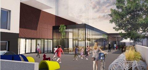 SKISSE: Slik ser utbygger for seg det nye tilbygget ved Stortorvet. Tiltaket skal huse serveringslokaler.