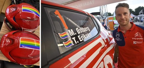 Mads Østberg og kartleser Torstein Eriksen (31) var i Ungarn i helgen fordi de skulle kjøre i det åpne ungarske mesterskapet. Der var hjelmer og bil dekorert for anledningen.