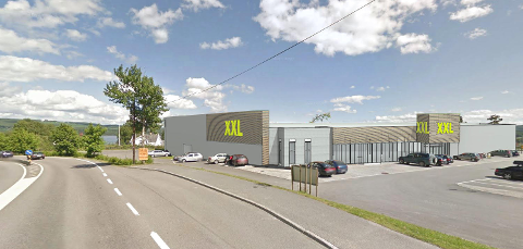 PUSSES OPP: Næringsbygget på Kirkeby skal rehabiliteres for å tilpasses XXL. (Illustrasjon: Thomas Marschall, Bessegen Arkitekter)