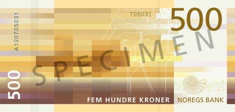 BAKSIDEN: Den nye 500-lappens bakside. Illustrasjon: Norges Bank