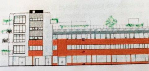 GRØNT: Det er allerede skissert park på taket i Jernbanegata.