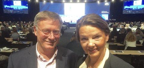 Talte: Gründer Jan Ivar Rønning fra Askim og stortingsrepresentant Ingjerd Schou talte til Høyres landsmøte på Gardermoen i helgen.