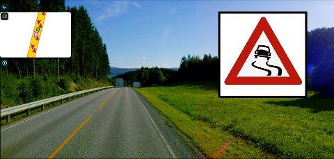 SKILT: Når man kjører sørover langs E6 er det i området denne bakketoppen før man kommer til avkjøring til Hammer Nordre og Austvik det skal skiltes glatt veibane.
