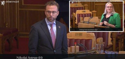I STORTINGET: Kommunalminister Nicolay Astrup (H) svarte på spørsmål fra blant annet Notoddens stortingsrepresentant Åslaug Sem-Jacobsen (innfelt) i Storetingets spørretime i dag. Bildene er fra Stortingets web-overføring av møtet i formiddag