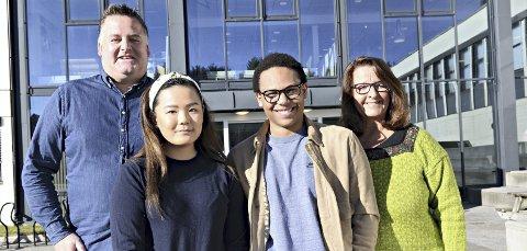 Fokus på Mobbing: Rektor ved Atlanten vgs, Trond Hjelle, Amanda Chen og Daniel Ørnvik fra elevrådet, og rektor ved Kristiansund vgs, Marit Bjerkestrand.
