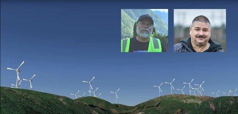 Bildet med vindturbinane kjem frå videoen som er laga av Folk for fjella.
