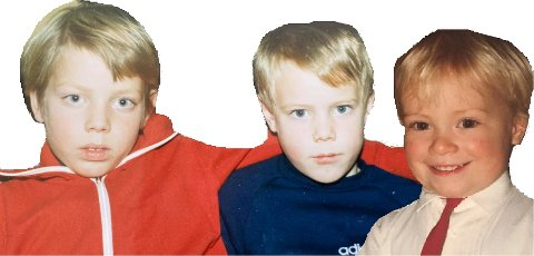 BARNDOMSVENNER: Anders (f.v), Helge og Håvard lekte sammen og gikk på Vikersund skole. De dro ut i den store verden og realiserte drømmene.