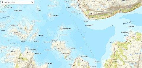 UBÅTSØK: Ubåten vil i natt søke i området langs den stipla linja på kartet.
