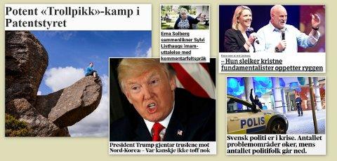 Nyhetsbildet: Carl Henrik Amundsen mener det blir mange uviktige saker i valgkampen og savner svar på de viktige. Klipp fra nettutgavene til Aftenposten, VG og NRK.
