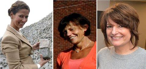 På kvinnetoppen: Monica Birgitte Midtun Sander (f.v.), Lise Kristin Gjølberg Aker og Liv Berstad er blant de ni kvinnene som tjente mest i Fredrikstad i fjor.