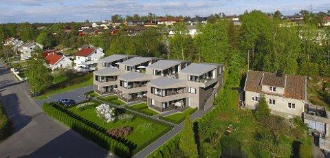 Fortetting er en vedtatt strategi for utbygging i Fredrikstad.  Her en en skisse av sju boliger på to tomter i Oredalen. Denne typen økning av belastning må tas hensyn til i områder med kvikklere, ifølge kommunens beredskapsleder.