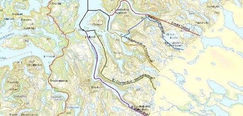 Flere muligheter: Blant flere alternativer har Fylkesmannen foreslått å dele Tysfjord nord for Hellemobotn (grønn strek).