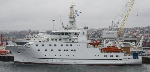 """BESØK: Dette er den tredje, og nyeste utgaven av forskningsskipet """"Dr. Fridtjof Nansen"""", eid av NORAD for å hjelpe andre land med sin fiskebestand, på en rask visitt i Horten."""