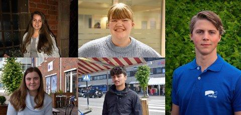 MENINGER: Hadelands ungdom har delte meninger angående stemmerett for 16-åringer. F.v: Maren Raknerud, Vilde Gjesdal, Linda Simensen, Abdullah Hamairi og Ole Gustav Morstad.