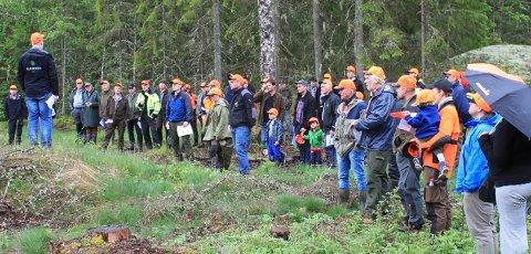 SKOGDAG: skogbruksleder Stein Aasgaard engasjerte skogeierne da han snakket om fordelene ved markberedning under skogdagen som nylig ble arrangert på Kollerød i Aremark.