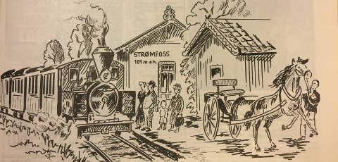 Den nye tid: Slik forestilte Halden Arbeiderblads tegner Bjørn Lundquist seg at toget dampet inn på Strømsfoss stasjon. Men Aremark fikk aldri sin togforbindelse.