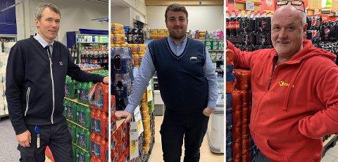 GOD JUL: Idar Jensen på Rema 1000, Tobias Bårdsnes på Joker og Per Gunnar Uttakleiv på Coop Extra begynner å bli klar til jul.