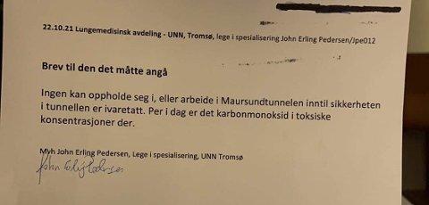 FRA UNN: Dette brevet er fra UNN, datert fredag morgen. Den viser giftige konsentrasjoner av karbonmonoksid.