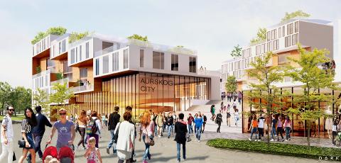 Aurskog City: Slik ser Dark Arkitekter for seg at Aursmoen sentrum kan se ut.