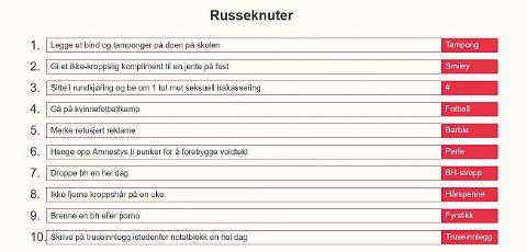 Russeknuter: Dette er russeknutene til feministrussen.