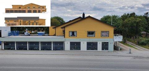 Huset i Idrettsgata har for tiden to forskjellige farger. Planene for hvordan det skal bli ser man oppe til venstre i bildet.