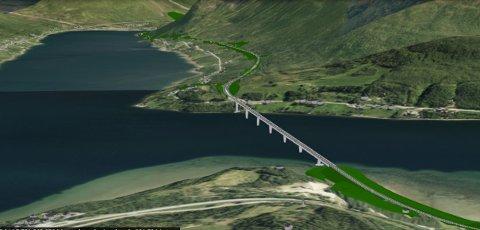 DE SISTE SKISSENE: Dette er skissene som Statens vegvesen lokalt jobber med for nye E8 i Ramfjord. Men  nå foreslår vegvesenet sentralt å fjerne hele prosjektet fra NP. Illustrasjon: Statens vegvesen