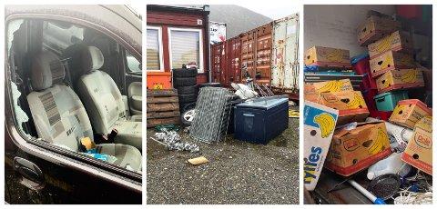 SØPPEL: Søppelet ligger strødd på kommunens eiendom i Tromsø.