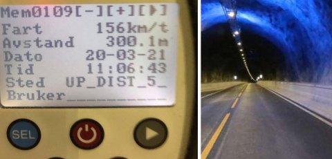 HØY FART: Det holdes for høy fart i Nordnestunnelen, konkluderer UP etter flere kontroller.