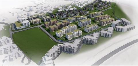 NYTT BOLIGFELT: Urbanium og Block Watne ønsker å bygge rundt 680 nye boliger på sin del av området Solberg Øst på Solberg.