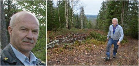 REAGERER: - Politianmeldelsen mot Elverum Turforening har ingen rot i virkeligheten, sier turforeningens områdesjef i Stavåsen, Ole-Petter Hoem. Han skjønner at grunneier Torgeir Toverud (til venstre) reagerer på at noen har felt skog ulovlig for å få utsyn fra Stavåstoppen. – Men det er ikke turforeningen som har gjort det, sier Hoem.