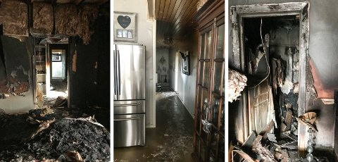 BRANNEN I TRYGVE LIES VEG: Slik ser soverommet ut, der brannen startet (bildet til venstre).