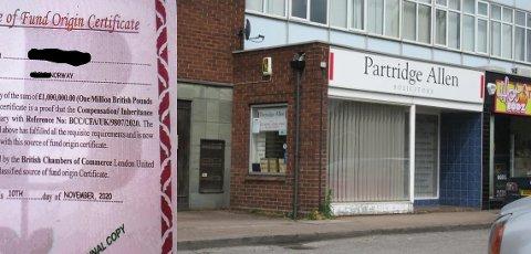 Svindeldokument: Det rosa såkalte verdipapiret viser til et advokatkontor i Walsall i Storbritannia. (Fra Google maps)